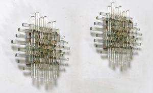 Poliarte Coppia di Appliques in vetro di Murano.