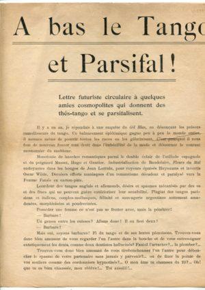 A Bas le Tango et Parsifal: Filippo Tommaso Marinetti