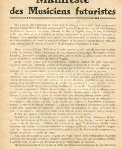 Francesco Balilla Pratella, Manifeste des Musiciens Futuristes