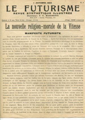 La nouvelle Religion-Morale de la Vitesse: Tommaso Marinetti