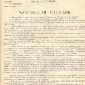 Marinetti, Manifeste du Futurisme. Poesia, Rassegna Internazionale