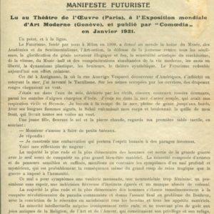 Marinetti Le Tactilisme. Manifeste Futuriste