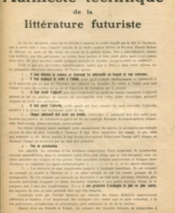 Tommaso Marinetti, Manifeste Technique de la Littérature Futuriste