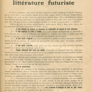 Tommaso Marinetti, Manifeste Technique de la Littérature Futuriste