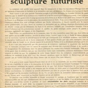 Umberto Boccioni, Manifeste Technique de la Sculpture Futuriste